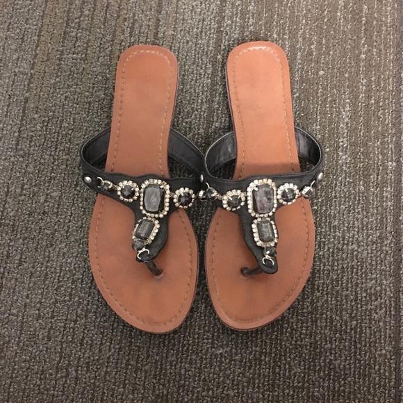 Cute Sandals Tan Black Flat Small Heel Gem Stones